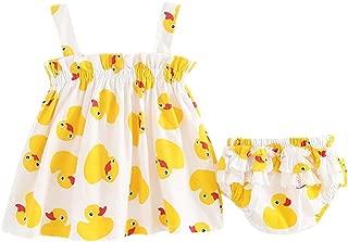 Sagton® 0-24M, Newborn Baby Girls Outfits Duck Print Strap Dress+ Shorts 2pcs