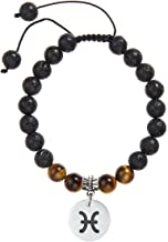 Meibai Handmade 8mm Lava Rock Tiger Eye Natural Stone Beads Bracelet with Constellation Zodiac Sign Charm Adjustable Size