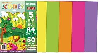 Bloco Criativo A4, Novaprint, Lumi, PCL000021, 210x297mm, 5 Cores Fluorescentes, 50 Folhas
