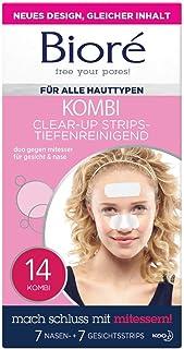 Bioré Clear up Strips - 1 x 14 Stück - Gesicht 7 Strips und Nase 7 Strips - tiefenreinigend, mit Witch Hazel