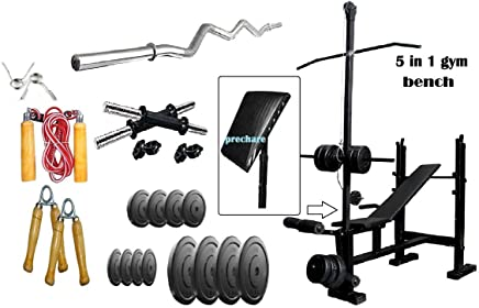 RjKart Home Gym 5 in 1 Bench with 20kg PVC Plates +3 ft Curl Rod + 1 Pair Dumbbell rods