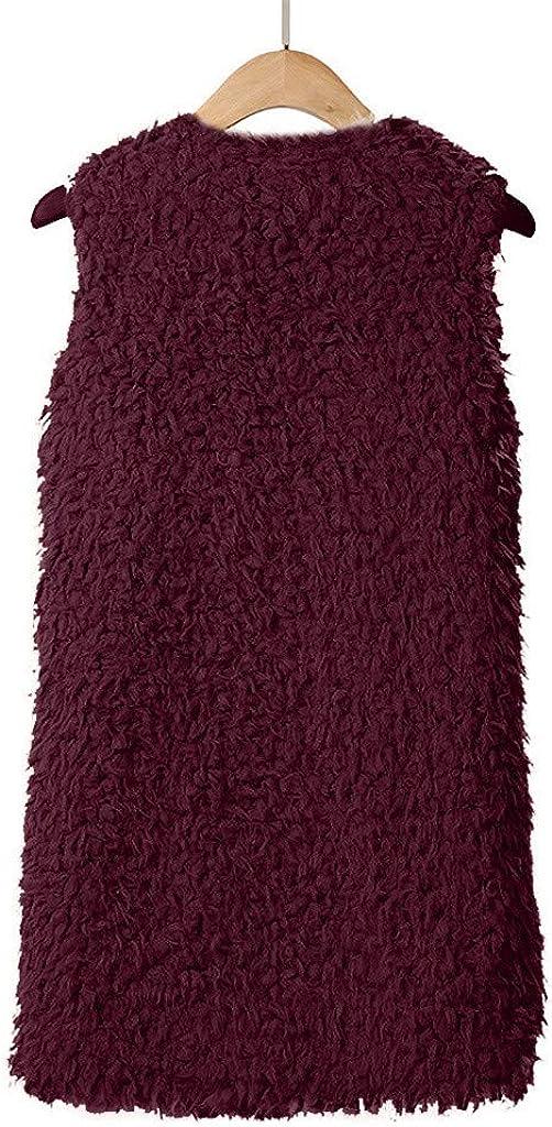 Xmiral Plüsch-Jacke Damen Ärmellos Warme Weste Kunstpelz Einfarbig Strickjacke Mantel mit Taschen Wein