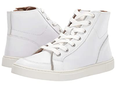 FRYE AND CO. Sindy Moto High (White Smooth Polished Leather) Women