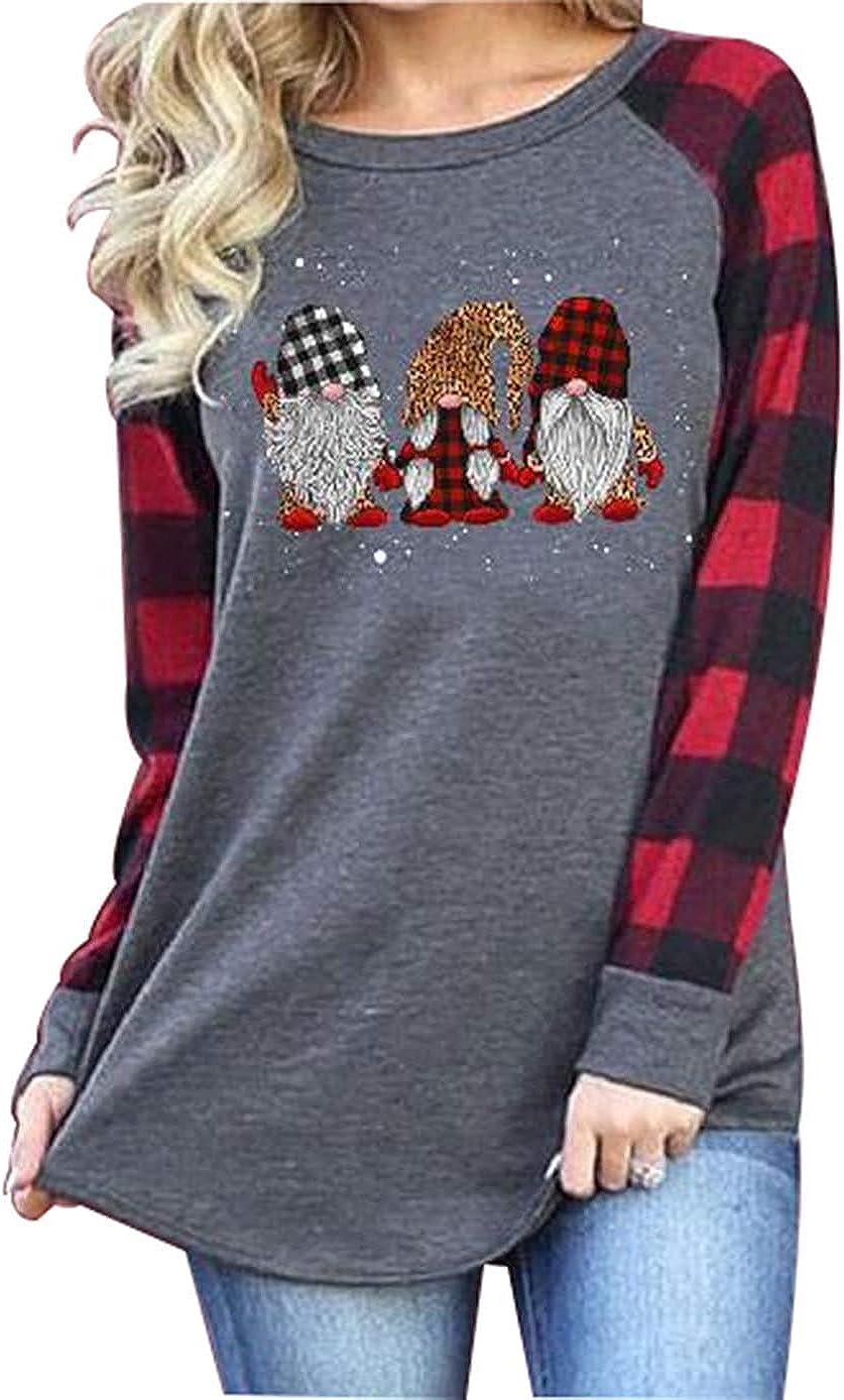 Women's Merry Max 47% OFF Christmas Shirt Tops Sl Funny Plaid Max 56% OFF Long