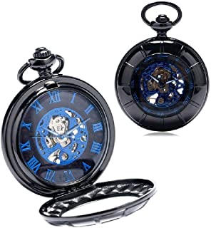 XMhbzy Antique Mechanical Skeleton Pocket Watch with Chain