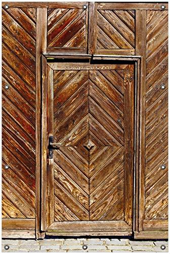 Wallario Garten-Poster Outdoor-Poster, Alte Holztür mit diagonalem Muster in Premiumqualität, für den Außeneinsatz geeignet