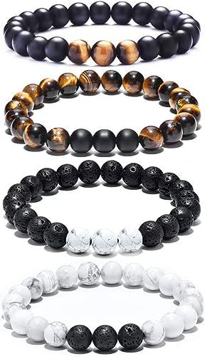 Tigerstar Natural Lava Rock Beads Bracelet,Stretch Elastic Bracelets,Adjustable Braided Rope Gemstone Bracelets for M...