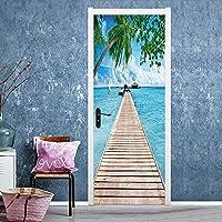 3Dドアステッカー青空ビーチブリッジドアステッカー寝室リビングルーム装飾塗装防水粘着性取り外し可能なウォールステッカー77X200CM