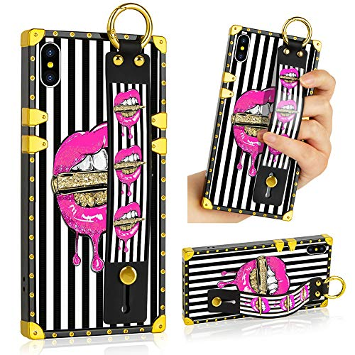 SOKAD iPhone Xs Max Case, Pink Lips Upgraded Wrist Strap Band Kickstand Square Full Body TPU Bumper Shockproof Protective Phone Case for iPhone Xs Max 6.5 Inch 2018