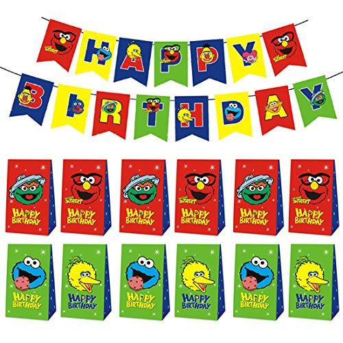 Bolsa de Regalo de Bolsa de Fiesta Sesame Street Decoración para Fiestas de Cumpleaños Banderín Feliz Cumpleañospara cumpleaños niños y la Fiesta favorece la Bolsa, Rellenos Bolsas Fiesta 12Pcs