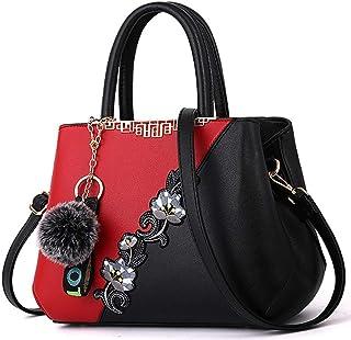 Fanspack Women Shoulder Bag Top Handle Bag Fashion Flower Crossbody Purse with Pom Pom