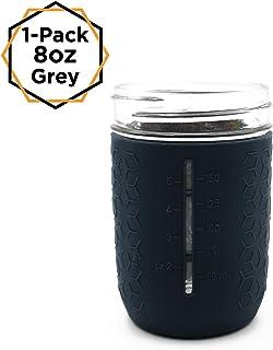 HallGEMs Silicone Mason Jar Protector Sleeve 8oz (Half Pint) Fits Ball, Kerr Regular-Mouth Jars (Grey, 1)