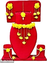 URBALAA Gota & Pearl Necklace, Earrings, Bracelet & Maang Tika for Women & Girls (Yellow)