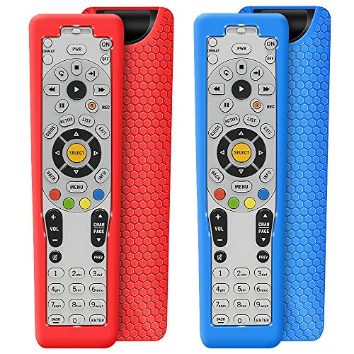 2 Pack Protective Case for DirecTV RC66RX Remote Control, Silicone Cover Shock Proof Remote Controller Skin Sleeve Replacement Protector Compatible with DirecTV RC64 RC65 RC66 IR/RF Remote-Red,Blue