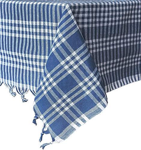 Destalya Tischdecke Picknick Tuch Baumwolle 160x160 cm (Blau 160x160 cm)