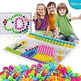 980 Stecker Puzzle Steckspiel Pilz Nägel Pädagogische Baustein Spielzeug Kreative DIY Mosaik...