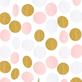 RUBFAC 5pcs 65ft Paper Garland Pink White Glitter Gold Circle Dots Hanging Decorations for Birthday Party Wedding Decorations