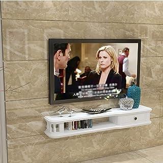 Los estantes flotantes de madera flotante TV Gabinete, Unidad de montaje en pared entretenimiento, Estantería multimedia, ...