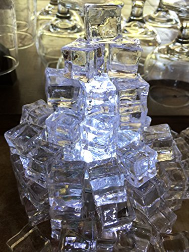 Price comparison product image 60 PCS Crystal Clear Acrylic Ice Cubes Square Shape,  for Photography Props or Home And Kitchen Decoration Fake Ice Cubes Prop Sunrise Crystal