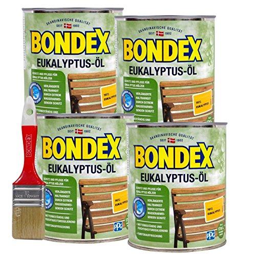 Bondex Eukalyptus-Öl 3 Liter, inkl. Pinsel - Schutz- und Pflegeöl für Aussen, Gartenmöbel und Terrassenöl