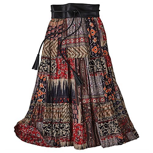 Women's Red Desert Broom Skirt - Reversible Red Floral/Patchwork Print - 3X