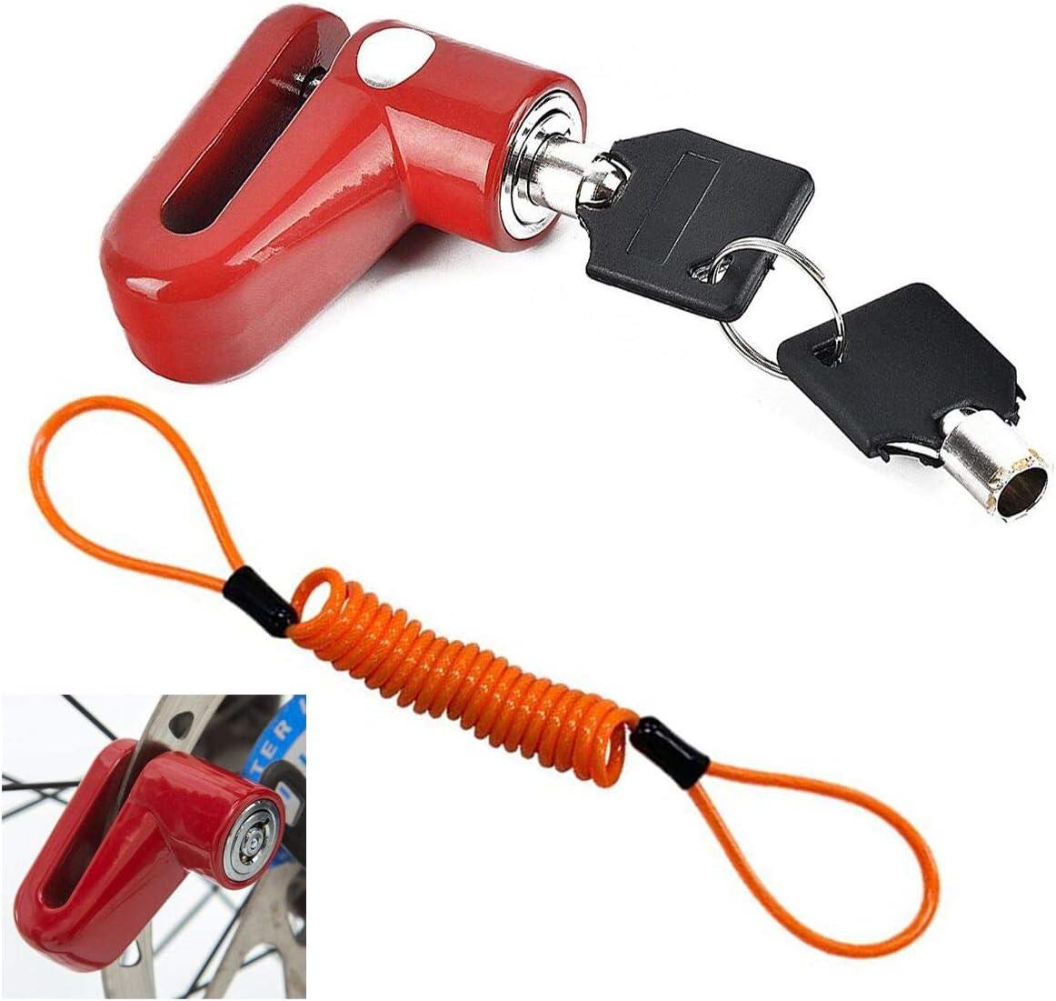 C/âble Rappel Antivol Bloque Disque Alarme 110 DB V/élo /électrique Antivol Moto Bloque Disque Bloc Disque avec Alarme Disc Lock Scooter V/élo pour Moto Universelle Scooter