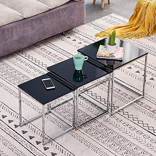 High Gloss Nest of Tables Black Cube Nest of 3 Tables Living Room Modern Side Table End Table for Coffee/Tea/Snack Space Saving Stackable Nested Tables Chrome Legs