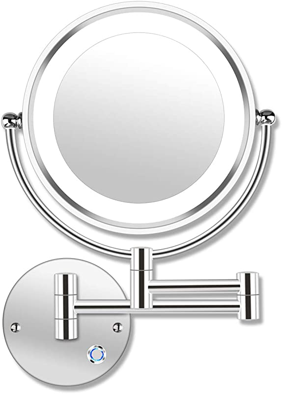 AmnoAmno 8 5 LED Double Sided Swivel Wall Mount Vanity Mirror 10x Magnification 13 7 Extension Touch Button Adjustable Light Chromium Shaving In Bedroom Or Bathroom 8 5 Inch