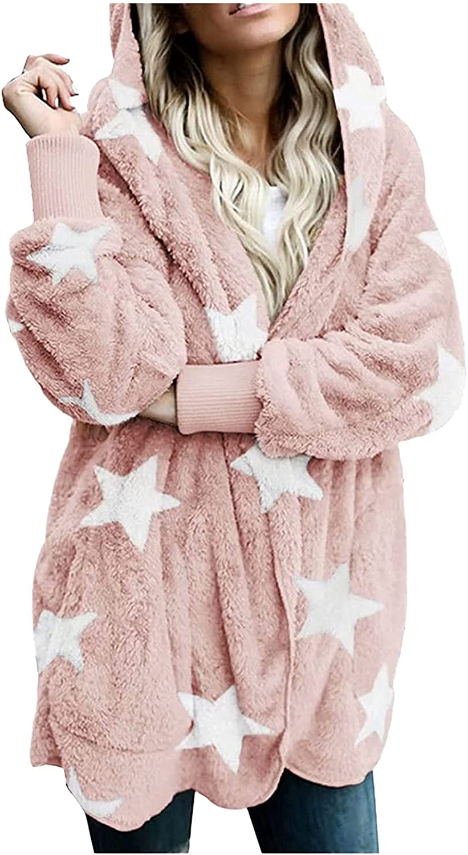 Oversized Cardigan Women's Casual Stars Pockets Oversized Faux Fur-Fuzzy Hooded Outerwear Coat