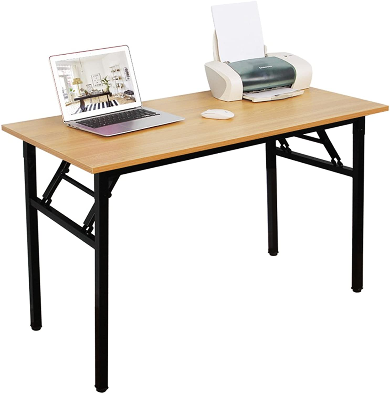 DlandHome Folding Computer Desk 47  Medium No Install Needed Folding Table Workstation for Home Office Teak AC5-120TB