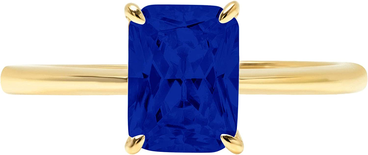 2.4ct Brilliant Radiant Cut Solitaire Flawless Simulated CZ Blue Sapphire Ideal 4-Prong Engagement Wedding Bridal Promise Anniversary Designer Ring Solid 14k Yellow Gold for Women