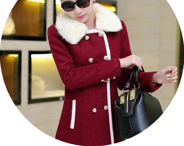 Women Woolen Coat DoubleBreasted Outerwer Large Fur Collar Winter Warm Wool Jacket Overcoat