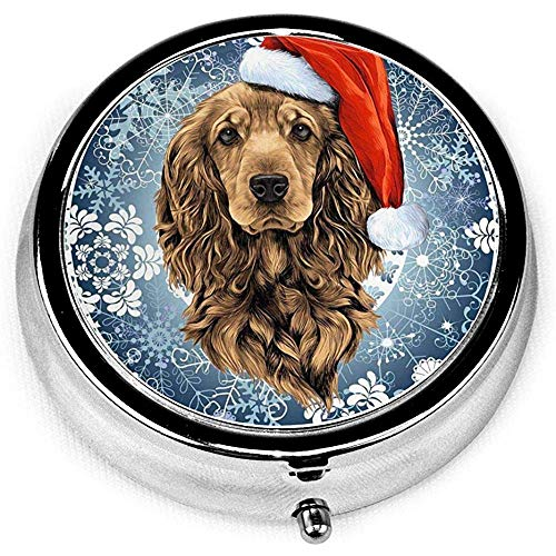 Caso dell'organizzatore del supporto della compressa della medicina della tasca della pillola rotonda della novità di Natale del cane inglese cocker spaniel di Santa per il regalo unico della borsa
