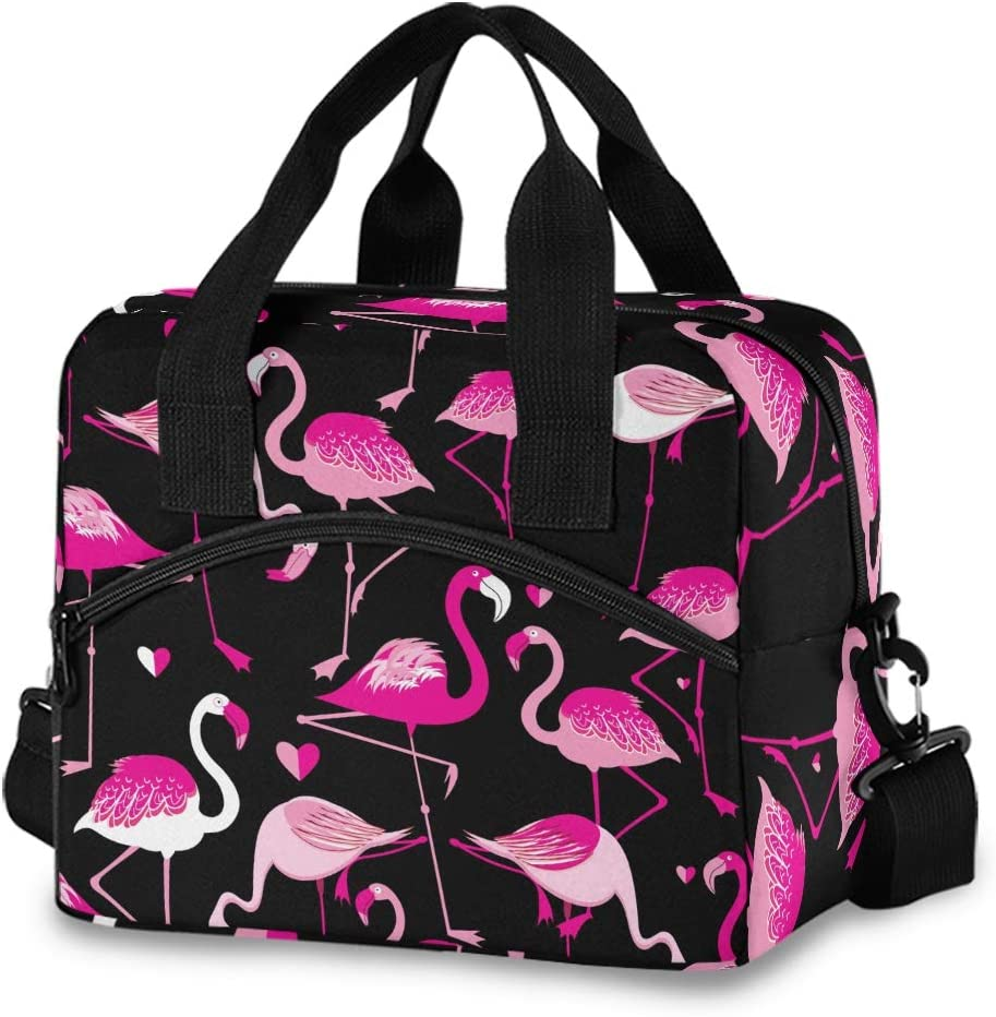 ALAZA Pink Flamingo Animal Insulated Lunch Bag Reusable Cooler Bags with Shoulder Strap for Women Men Adults, 19-Can (12.5L)