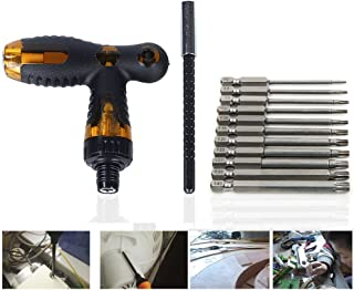 Tonsiki 13 Pieces Set Telescopic Ratcheting T Handle + 5 Inch Length Drill Bit Extension + 3 Inch Length Torx Security Head Screwdriver Drill Bit
