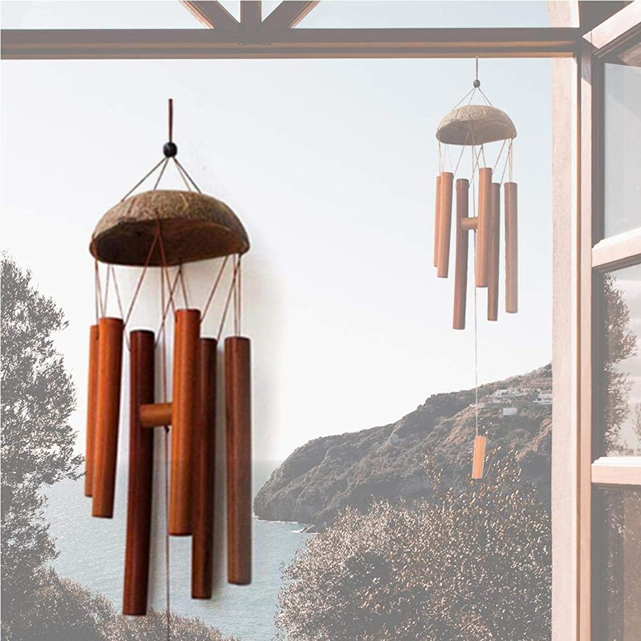 Bamboo Wind Chime,Wind Chime Large Bell Tubes Coconut Wood Handmade in Bali
