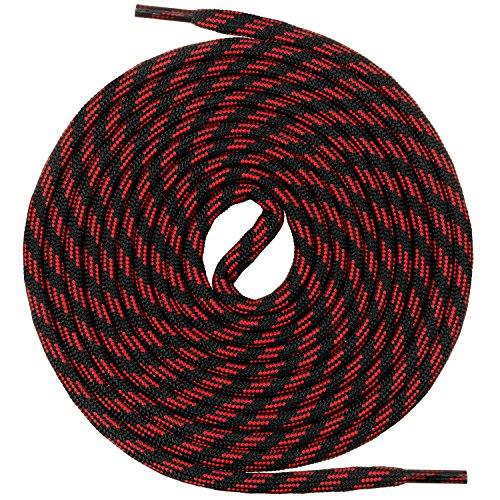 Mount Swiss runde Schnürsenkel für Wanderschuhe, Trekkingschuhe und Arbeitsschuhe - extra reißfest - ø 5 mm Farbe Schwarz-Rot-m3- Länge 150cm