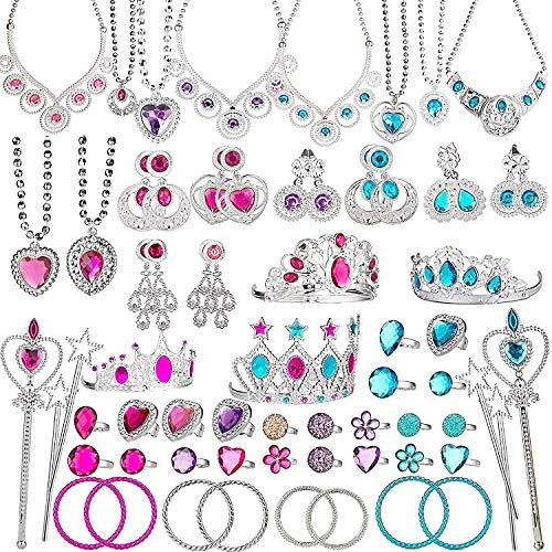 BeYumi 66 Pcs Princess Pretend Jewelry Toy, Girl
