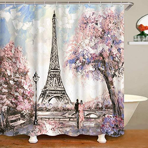 VividHome 72 x 72 Inch Waterproof Paris Eiffel Tower Bathroom Shower Curtain Romantic Lover Pink Flower Polyester Fabric Bathroom Curtain Ideas