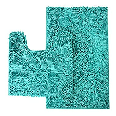 MAYSHINE Bathroom rug toilet sets and Shaggy Non slip Machine washable Soft Microfiber bath Contour mat (Turquoise,32  20 /20  20  U-Shaped)
