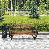 shougui trade Outdoor Bench 2-Sitzer Gartenzaun Bank, Massivholz Warenkorb Wagon Wheel Patio Bank für Gartenbank Schaukel