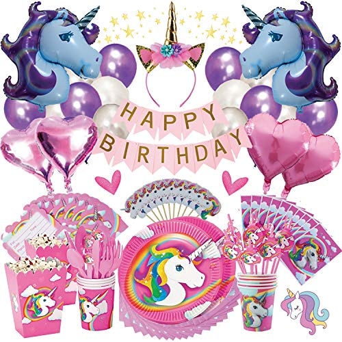 Unicorn Party Supplies | Birthday Bundle for Girls - Complete Set | Decorations Kit, Balloons, Tableware Set, Table Cover, Plates, Headband, Magical Rainbow Kids Theme, Pink Happy Banner, | It's Lit!