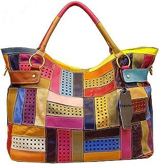 Segater® Mehrfarbig Floral Rind Leder-Umhängetasche für Damen, Vintage Rindsleder Handtasche Blumenmuster 3D Schultertasch...
