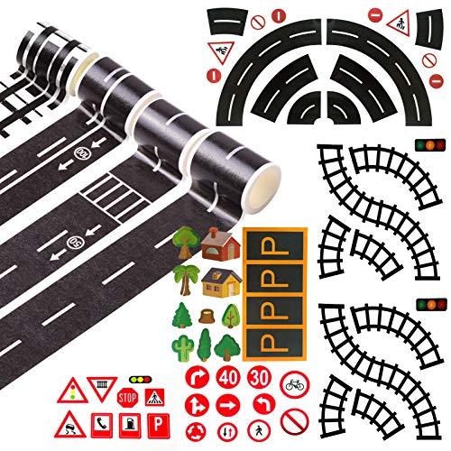 HANGNUO 4 Rollen Straße Klebeband Eisenbahn, Kurvenverlauf, Autobahn, Geschwindigkeit Grenze Spur mit Verkehrsschild, Parkschild Aufkleber für Kid Toy Fahrzeug, Kinder Lernen Klebeban