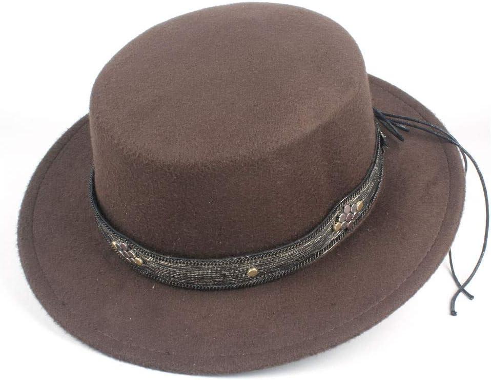 LIRRUI Unisex Men Women Flat Top Hat Autumn Pop Church Travel Hat Fascinator Casual Wild Hat Fedora Size 56-58CM (Color : Coffee, Size : 56-58)