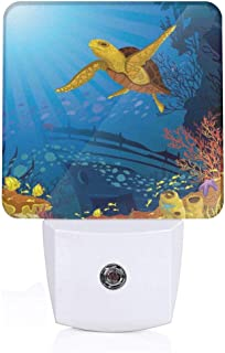Colorful Plug in Night,Colored Coral Reef with Silhouette School of Fish and Turtle Underwater Art,Auto Sensor LED Dusk to Dawn Night Light Plug in Indoor for Childs Adults