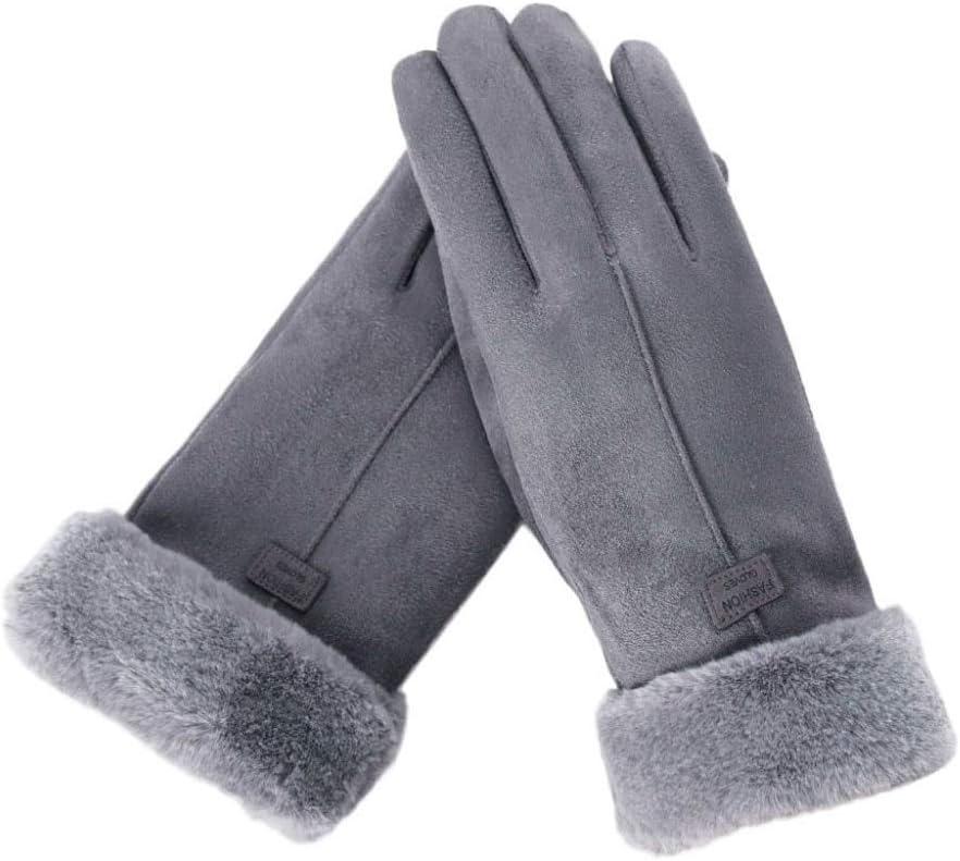 Gloves Winter Gloves Women Female Keep Warm Solid Color Gloves Ladies Elegant Plush Wrist Mittens Ski Driving Glove