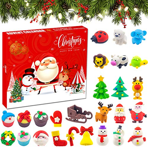 DQstar Christmas Countdown Calendar Puzzle Eraser, Christmas Eraser Surprise Advent Calendar, 24 Christmas Eraser for Count Down Christmas Holiday Party Kids Adults Challenge