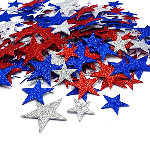 200 Pcs Glitter Star Stickers Patriotic Decoration Self Adhesive Star Shape Glitter Foam Sticker for...