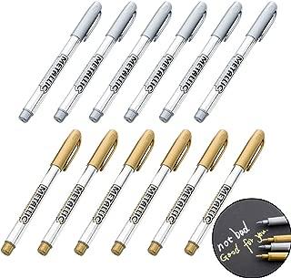 12Pcs Metallic Marker Pens, Creatiee Gold & Silver Metallic Permanent Markers|Metallic Painting Pens|Signature Pens for Card Making Rock Painting Glass Metal Wood Script Lettering DIY Photo Album